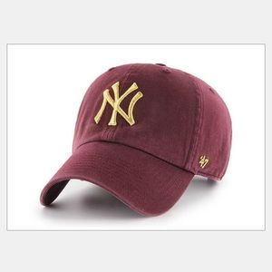 5 for $35 Yankees Burgundy with Gold Logo